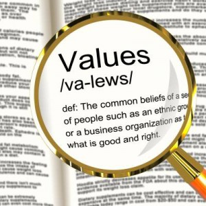 Values - definition with magnifying glass