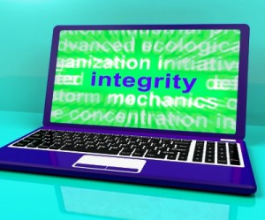 Integrity word on laptop